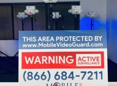 area protected by mobile video guard security camera system