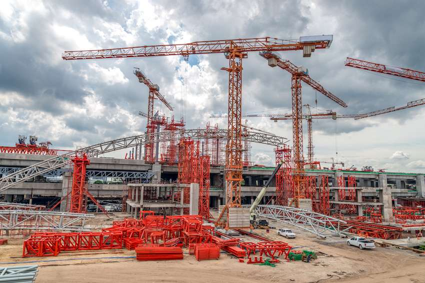 industrial sites and cranes at construction site