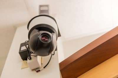A security camera indoors at a medical office
