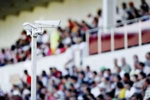 One of the portable security monitoring stations at a sports venue