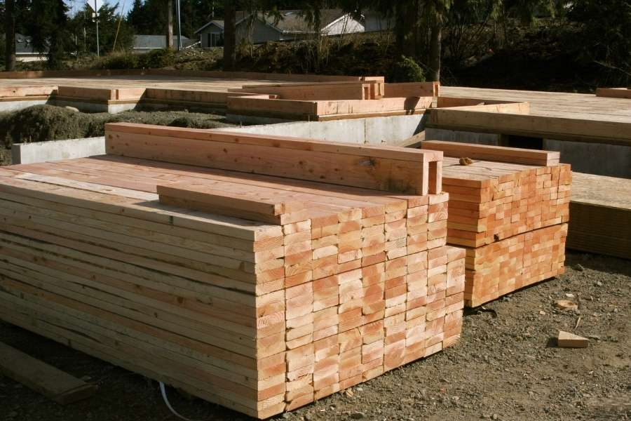 lumber at construction site