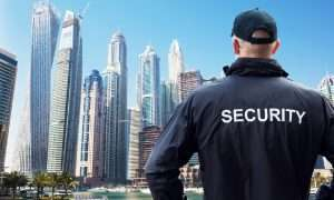 security guard in black jacket facing a marina beside a city